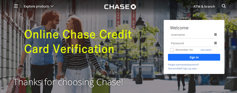 Online Chase CreditCard Verification