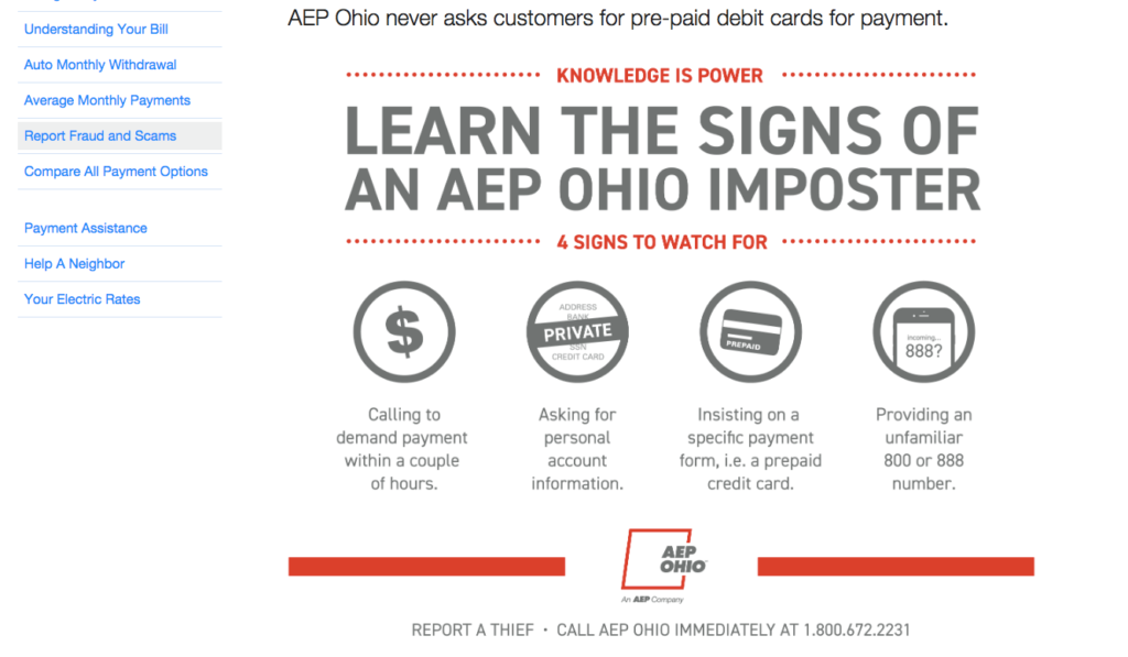 AEP Ohio Fraud Sign