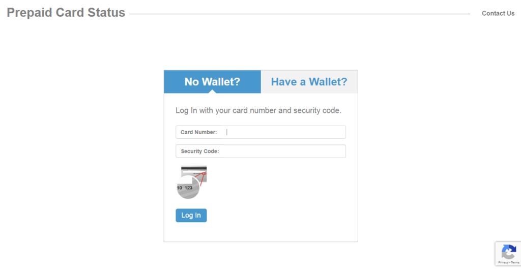 prepaidcard status login